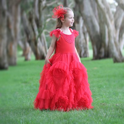 FLOWER GIRL DRESS RED