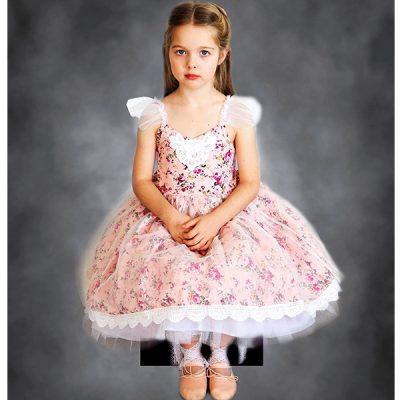 vintage floral pink flower girl dress